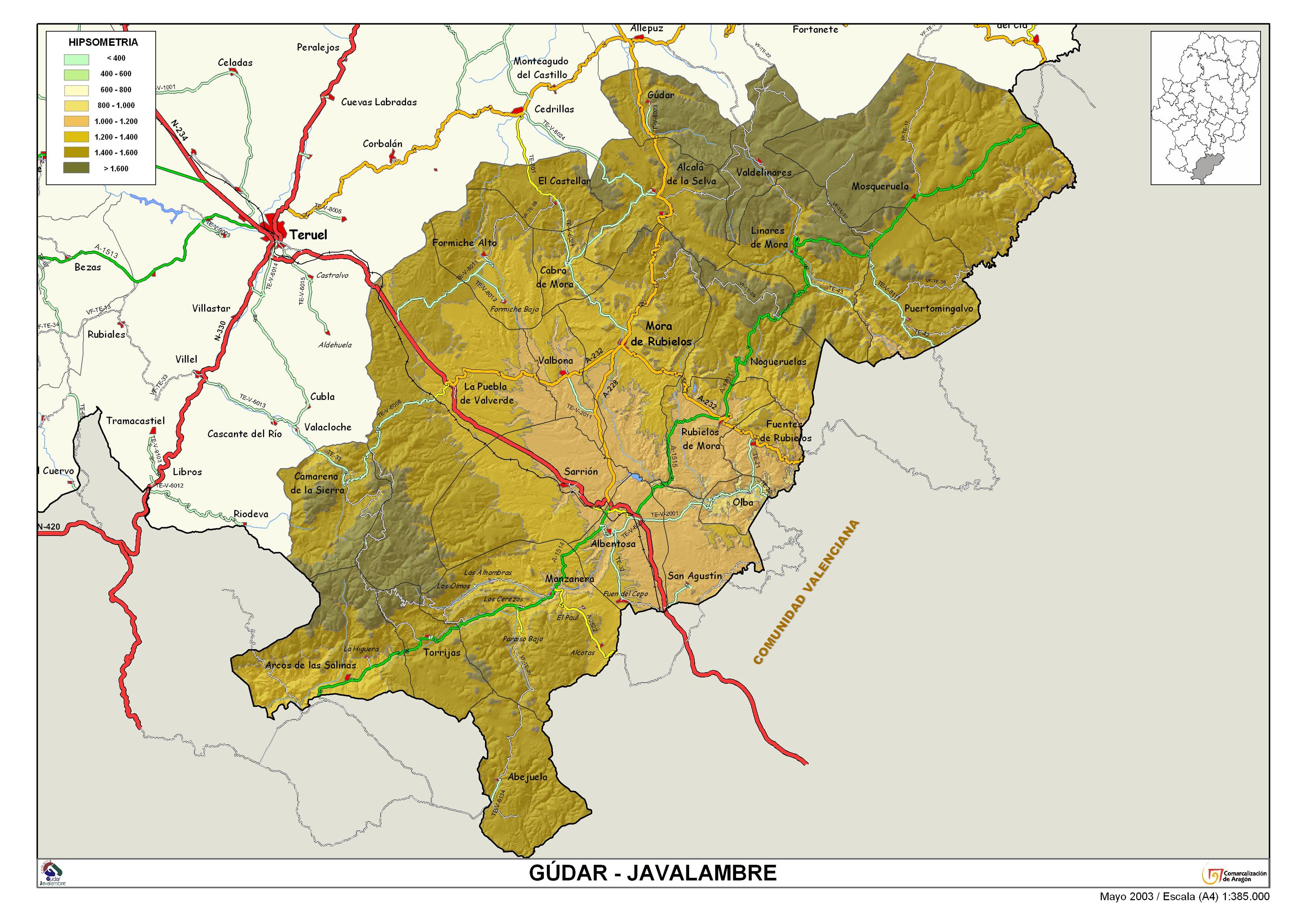 Sierra De Javalambre Mapa.Gudar Javalambre